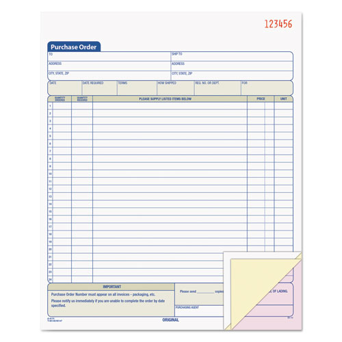 Purchase Order Book, 8 3/8 x 10 3/16, Three-Part Carbonless, 50 Sets/Book | by Plexsupply