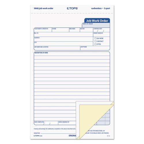 """Snap-Off Job Work Order Form, 5 2/3"""" x 8 5/8"""", Three-Part Carbonless, 50 Forms 