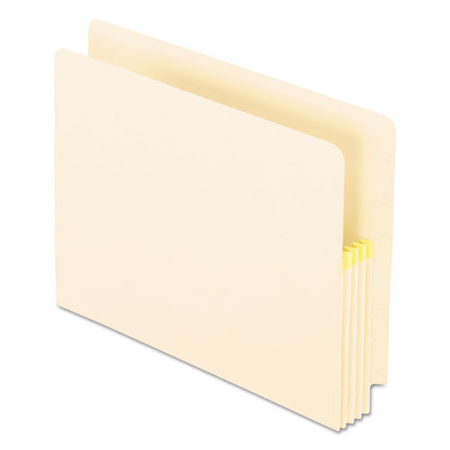 """Convertible End Tab File Pockets, 3.5"""" Expansion, Letter Size, Manila, 25/Box 