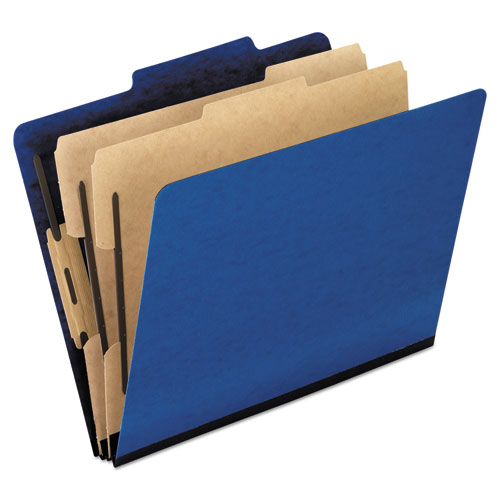 Six-Section Colored Classification Folders, 2 Dividers, Legal Size, Blue, 10/Box | by Plexsupply