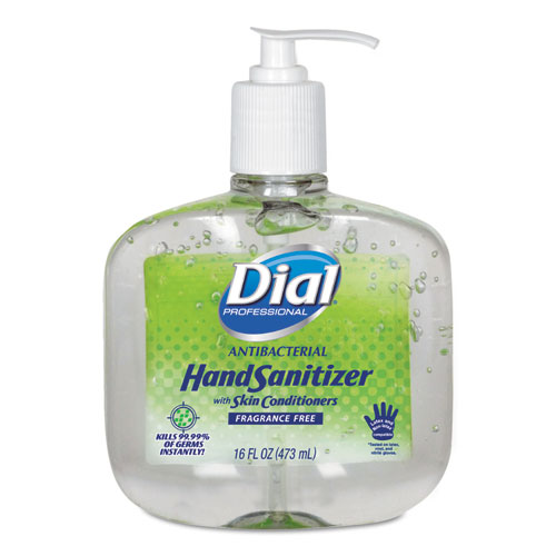 Antibacterial Gel Hand Sanitizer w/Moisturizers, 16oz Pump, Fragrance-Free, 8/Ct