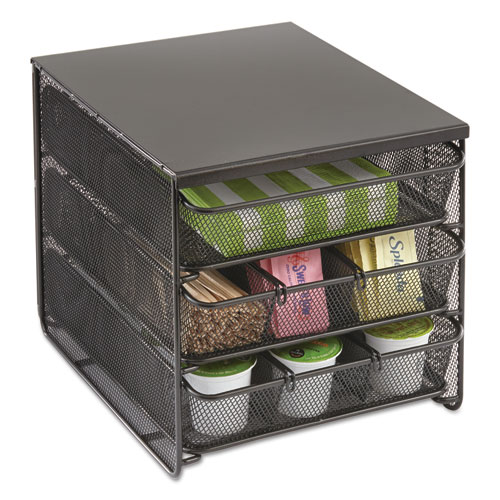 3 Drawer Hospitality Organizer, 7 Compartments, 11 1/2w x 8 1/4d x 8 1/4h, Bk
