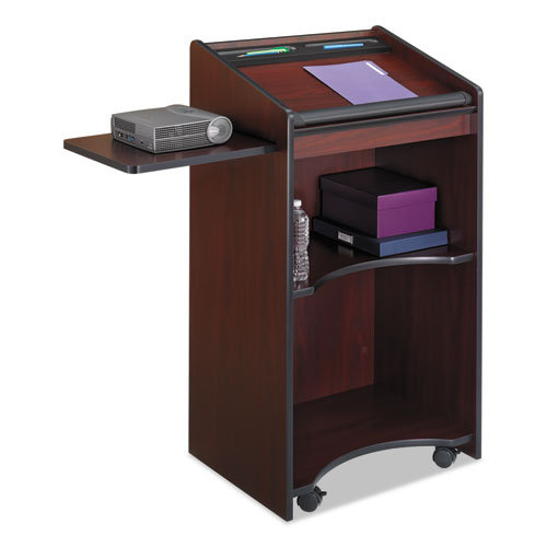 Executive Mobile Lectern, 25.25w x 19.75d x 46h, Mahogany | by Plexsupply