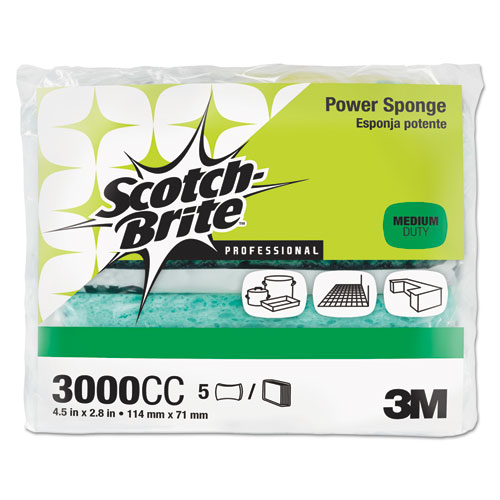 Power Sponge, Teal, 2 4/5 x 4 1/2, 5/Pack | by Plexsupply