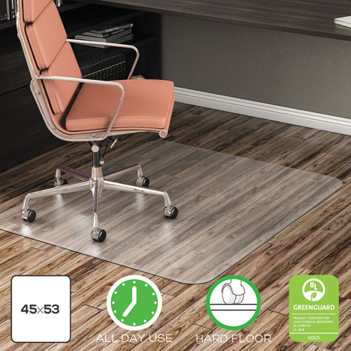 EconoMat All Day Use Chair Mat for Hard Floors, 45 x 53, Clear