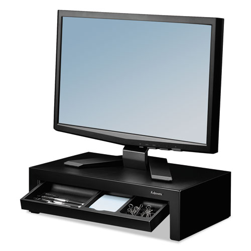 Adjustable Monitor Riser with Storage Tray, 16 x 9 3/8 x 6, Black Pearl | by Plexsupply