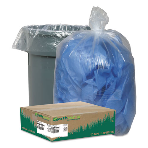 "Earthsense® Commercial Linear Low Density Clear Recycled Can Liners, 33 gal, 1.25 mil, 33"" x 39"", Clear, 100/Carton"