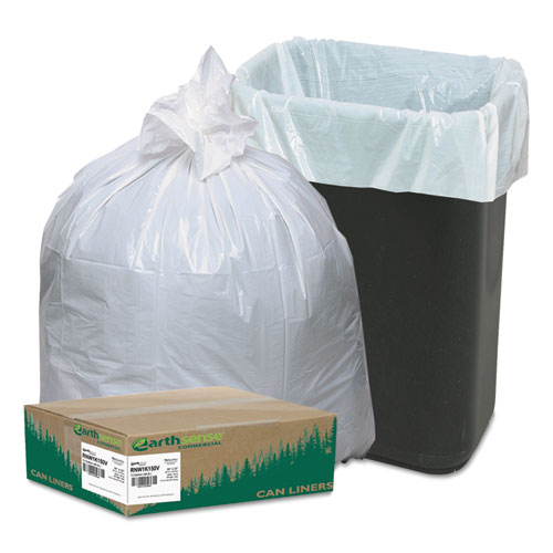 "Earthsense® Commercial Linear-Low-Density Recycled Tall Kitchen Bags, 13 gal, 0.85 mil, 24"" x 33"", White, 150/Box"