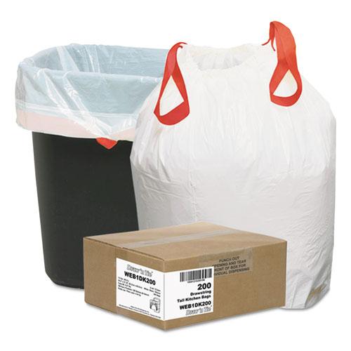 """Draw 'n Tie® Heavy-Duty Trash Bags, 13 gal, 0.9 mil, 24.5"""" x 27.38"""", White, 200/Box"""
