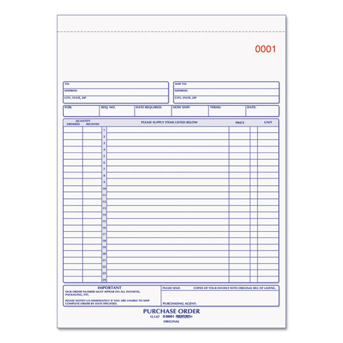 Purchase Order Book, 8 1/2 x 11, Letter, Three-Part Carbonless, 50 Sets/Book | by Plexsupply