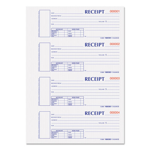 Hardcover Numbered Money Receipt Book, 6 7/8 x 2 3/4, Two-Part, 300 Forms | by Plexsupply