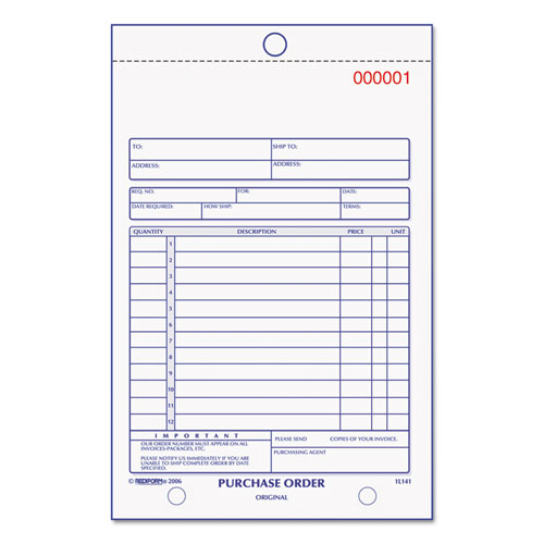 Purchase Order Book, Bottom Punch, 5 1/2 x 7 7/8, 3-Part Carbonless, 50 Forms | by Plexsupply