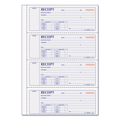 Money Receipt Book, 7 x 2 3/4, Carbonless Duplicate, 200 Sets/Book | by Plexsupply