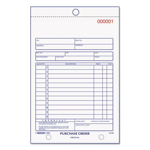 Purchase Order Book, Bottom Punch, 5 1/2 x 7 7/8, Two-Part Carbonless, 50 Forms | by Plexsupply