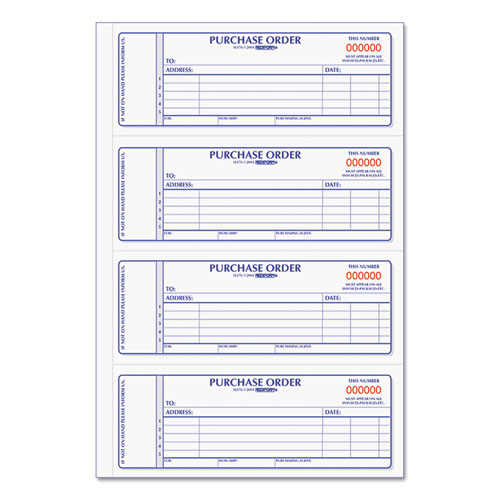 Purchase Order Book, 7 x 2 3/4, Two-Part Carbonless, 400 Sets/Book | by Plexsupply