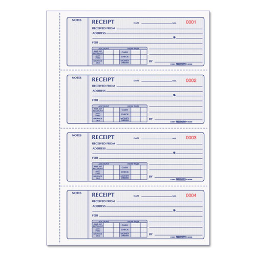 Receipt Book, 7 x 2 3/4, Triplicate with Carbons, 200 Sets/Book | by Plexsupply
