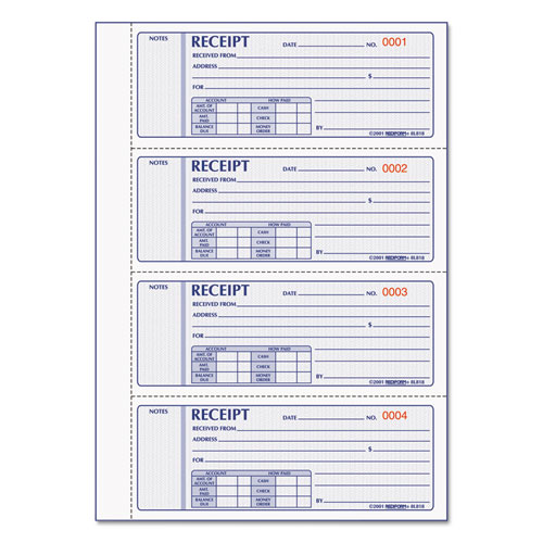 Money Receipt Book, 7 x 2 3/4, Carbonless Triplicate, 200 Sets/Book | by Plexsupply