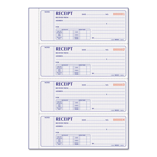 Receipt Book, 7 x 2 3/4, Carbonless Duplicate, 400 Sets/Book | by Plexsupply