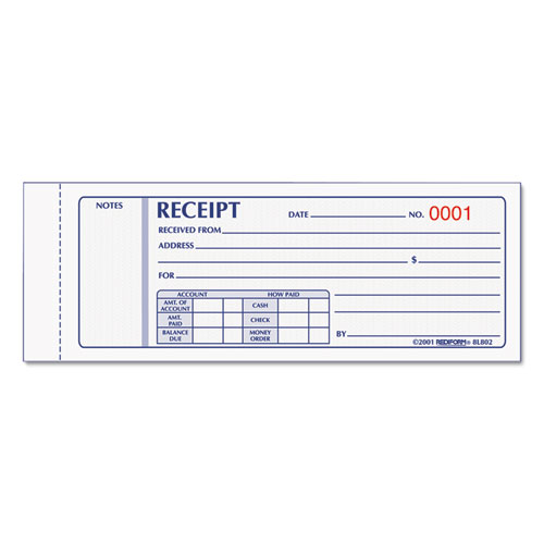 Receipt Book, 7 x 2 3/4, Carbonless Triplicate, 50 Sets/Book | by Plexsupply