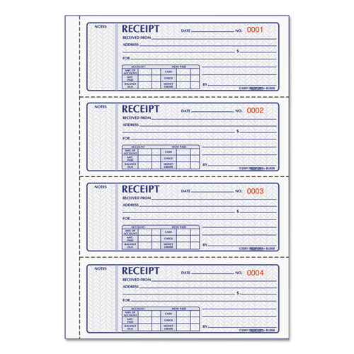Money Receipt Book, 7 x 2 3/4, Carbonless Triplicate, 100 Sets/Book | by Plexsupply