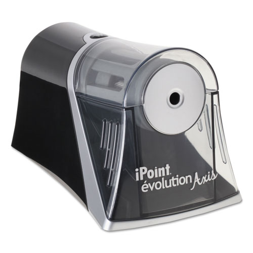 iPoint Evolution Axis Pencil Sharpener, AC-Powered, 4.25 x 7 x 4.75, Black/Silver
