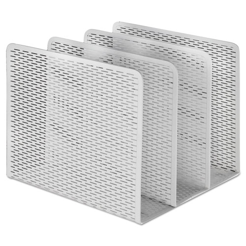 Urban Collection Punched Metal File Sorter, 3 Sections, Letter Size Files, 8 x 8 x 7.25, White