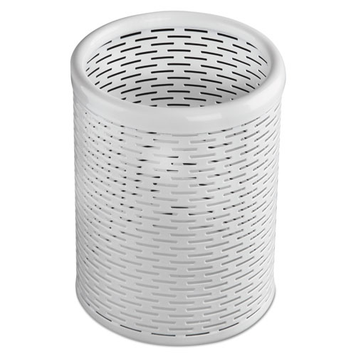 Urban Collection Punched Metal Pencil Cup, 3 1/2 x 4 1/2, White | by Plexsupply