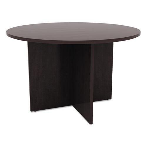 Alera Valencia Round Conference Table w/Legs, 29 1/2h x 42 dia., Espresso | by Plexsupply