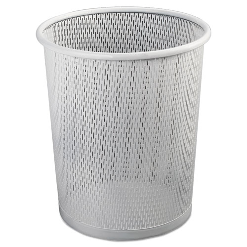 Urban Collection Punched Metal Wastebin, 20.24 oz, 9 Diameter, Steel, White Satin