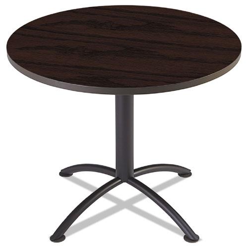 "iLand Table, Contour, Round Seated Style, 36"" dia. x 29"", Mahogany/Black | by Plexsupply"