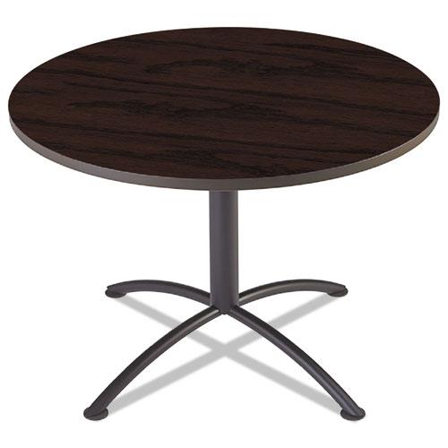 "iLand Table, Contour, Round Seated Style, 42"" dia. x 29"", Mahogany/Black | by Plexsupply"