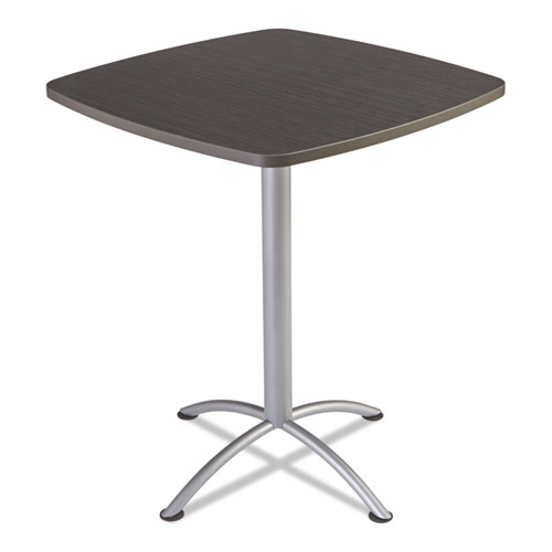 "iLand Table, Contour, Square Bistro Style, 36"" x 36"" x 42"", Gray Walnut/Silver | by Plexsupply"
