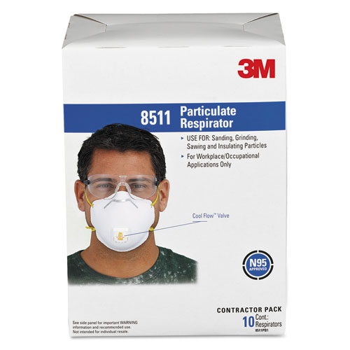 Particulate Respirator w/Cool Flow Exhalation Valve, 10 Masks/Box 8511