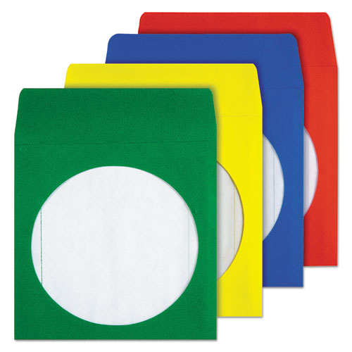 Colored CD/DVD Paper Sleeves, Assorted Colors, 50/Box