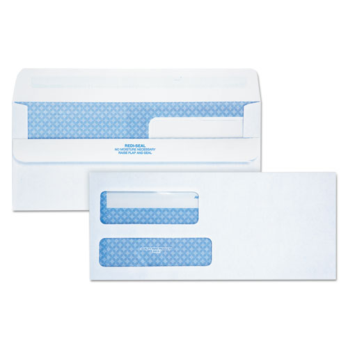 Double Window Redi-Seal Security-Tinted Envelope, #9, Commercial Flap, Redi-Seal Closure, 3.88 x 8.88, White, 250/Carton | by Plexsupply