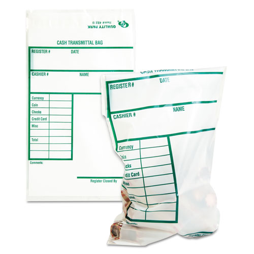Quality Park™ Cash Transmittal Bags w/Printed Info Block, 6 x 9, Clear, 100 Bags/Pack