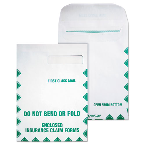 Redi-Seal Insurance Claim Form Envelope, Cheese Blade Flap, Redi-Seal Closure, 9 x 12.5, White, 100/Box | by Plexsupply
