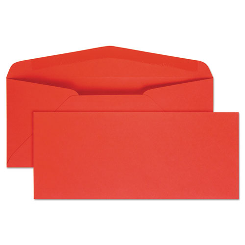 Colored Envelope, #10, Bankers Flap, Gummed Closure, 4.13 x 9.5, Red, 25/Pack | by Plexsupply