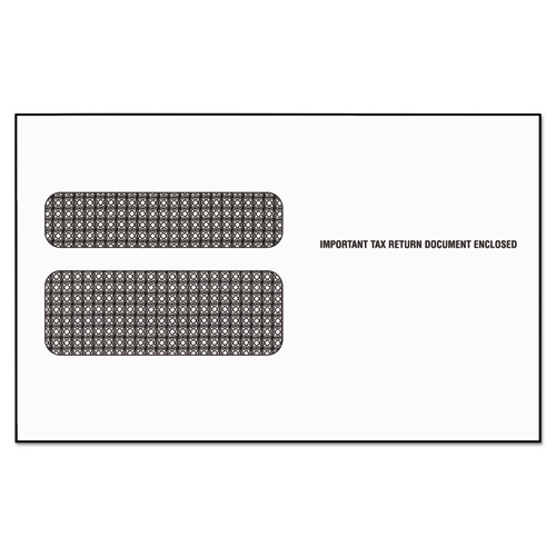 W-2 Laser Double Window Envelope, Commercial Flap, Gummed Closure, 5.63 x 9.5, White, 24/Pack | by Plexsupply