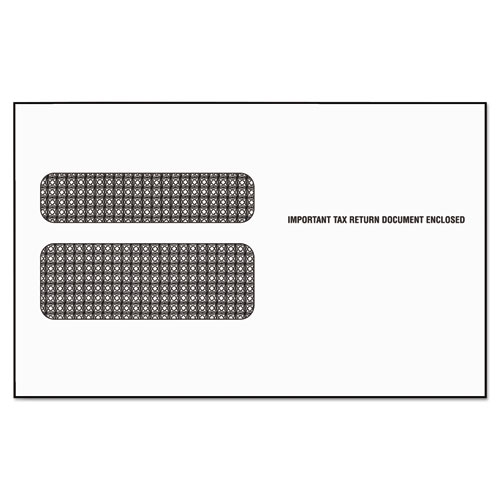 W-2 Laser Double Window Envelope, Commercial Flap, Gummed Closure, 5.63 x 9, White, 50/Pack | by Plexsupply