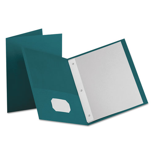 """Twin-Pocket Folders with 3 Fasteners, Letter, 1/2"""" Capacity, Teal, 25/Box 