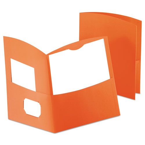Contour Two-Pocket Recycled Paper Folder, 100-Sheet Capacity, Orange | by Plexsupply