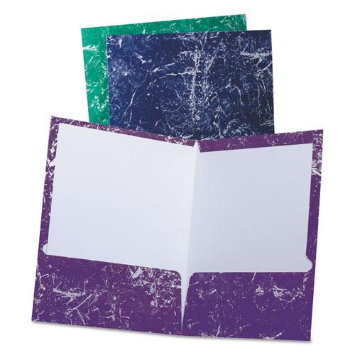Marble High Gloss Portfolio, Charcoal/Green/Navy/Purple