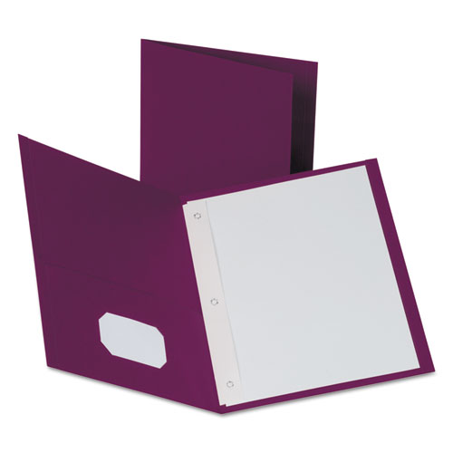 """Twin-Pocket Folders with 3 Fasteners, Letter, 1/2"""" Capacity, Burgundy, 25/Box 