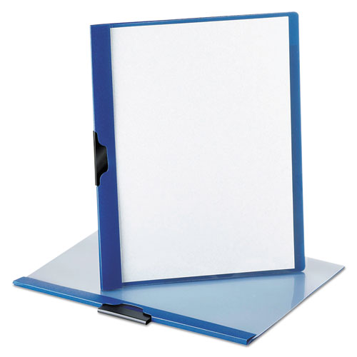 No-Punch Report Cover, Letter, Clip Holds 30 Pages, Clear/Blue