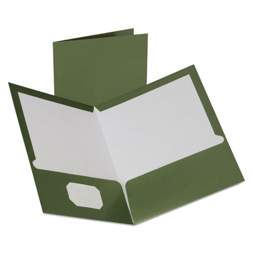 Two-Pocket Laminated Folder, 100-Sheet Capacity, Metallic Green