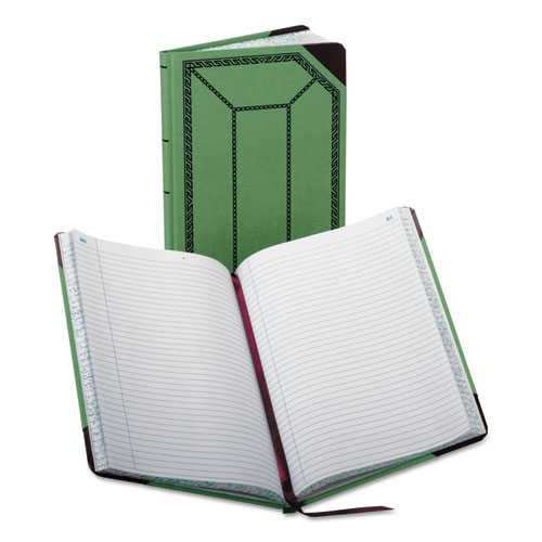 Record/Account Book, Record Rule, Green/Red, 150 Pages, 12 1/2 x 7 5/8