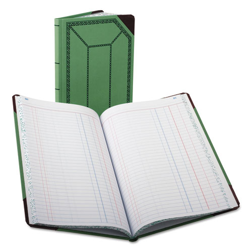 Record/Account Book, Journal Rule, Green/Red, 150 Pages, 12 1/2 x 7 5/8 | by Plexsupply