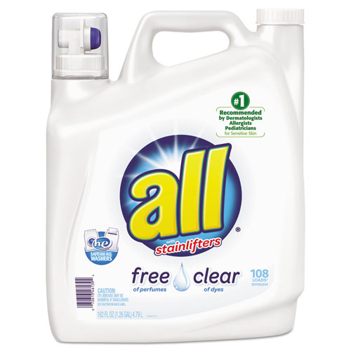 Diversey™ All Free Clear 2x Liquid Laundry Detergent, Unscented, 162 oz Bottle, 2/Carton