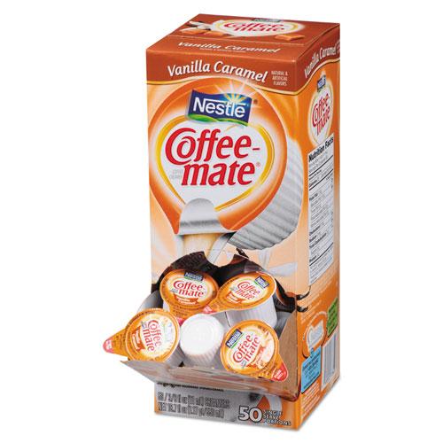 Liquid Coffee Creamer, Vanilla Caramel, 0.38 oz Mini Cups, 50/Box, 4 Boxes/Carton, 200 Total/Carton | by Plexsupply